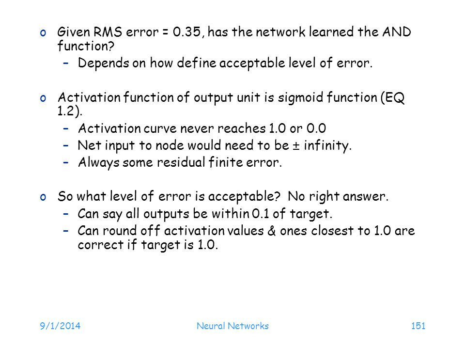 Given RMS error = 0.35, has the network learned the AND function