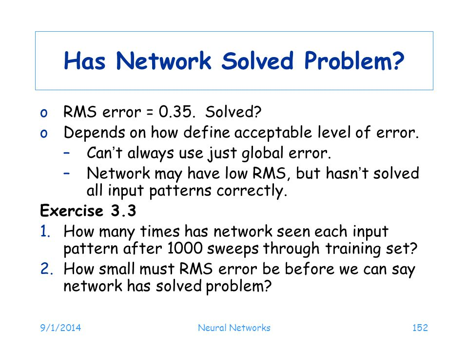 Has Network Solved Problem