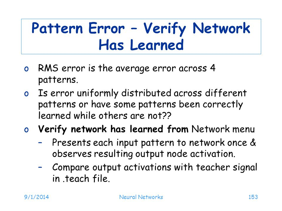 Pattern Error – Verify Network Has Learned