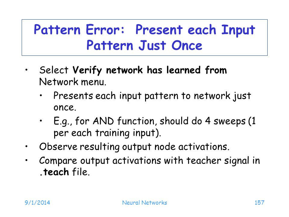 Pattern Error: Present each Input Pattern Just Once