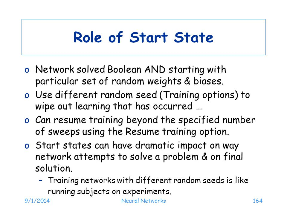 Role of Start State Network solved Boolean AND starting with particular set of random weights & biases.