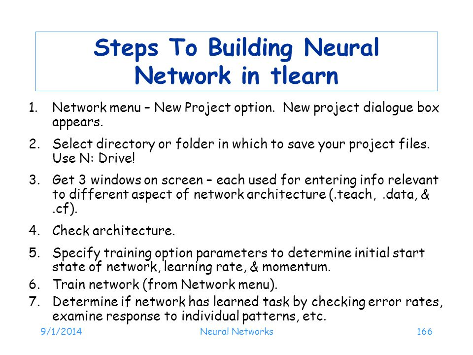 Steps To Building Neural Network in tlearn