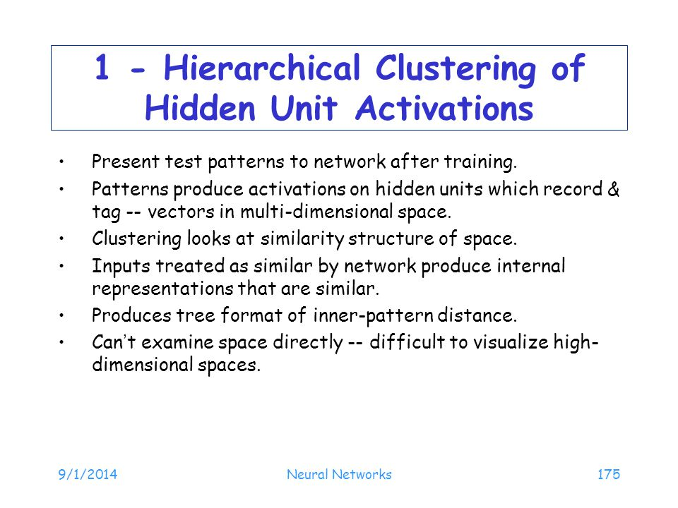 1 - Hierarchical Clustering of Hidden Unit Activations