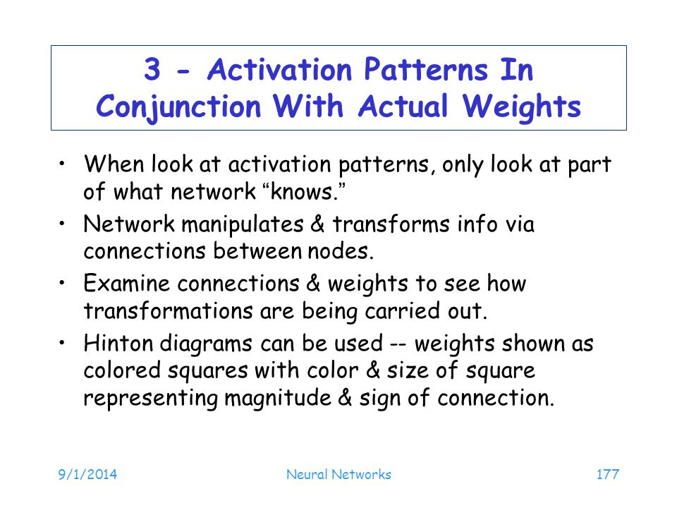 3 - Activation Patterns In Conjunction With Actual Weights