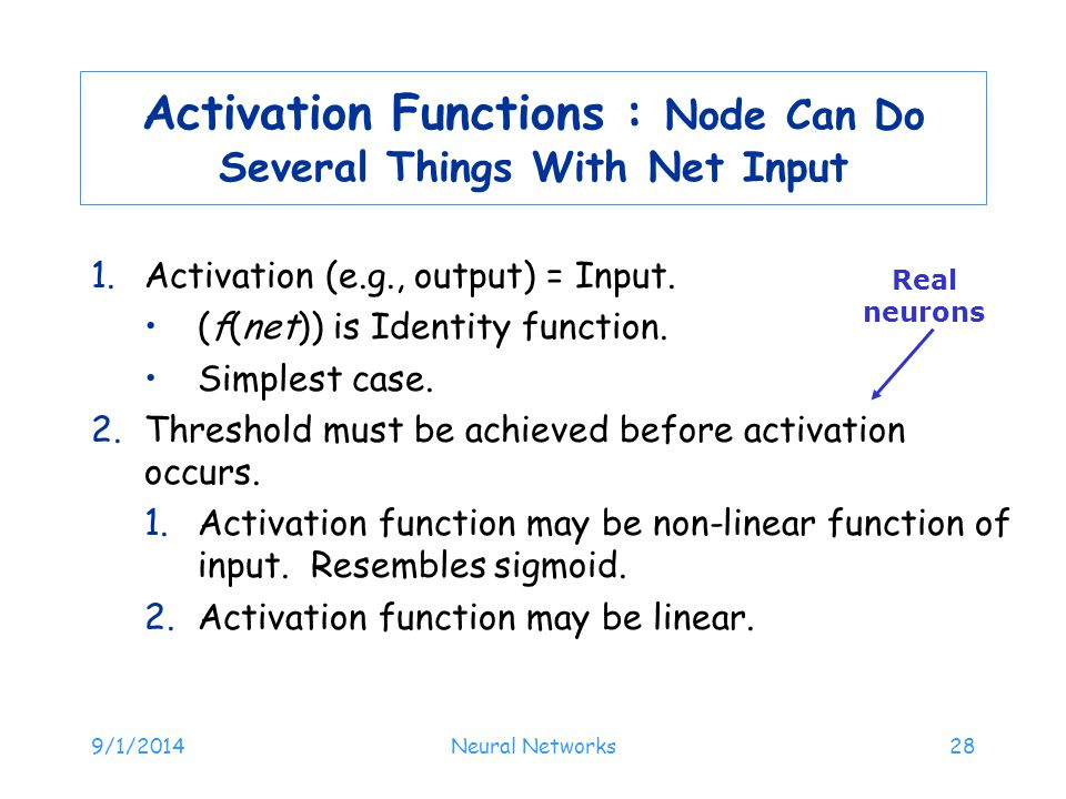 Activation Functions : Node Can Do Several Things With Net Input