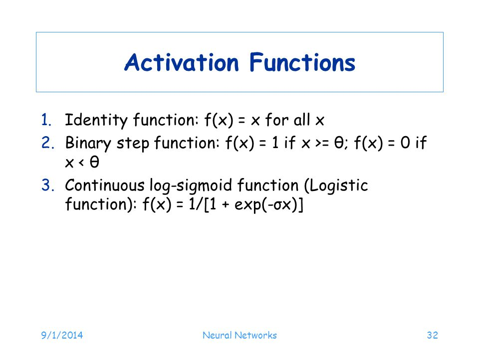 Activation Functions Identity function: f(x) = x for all x