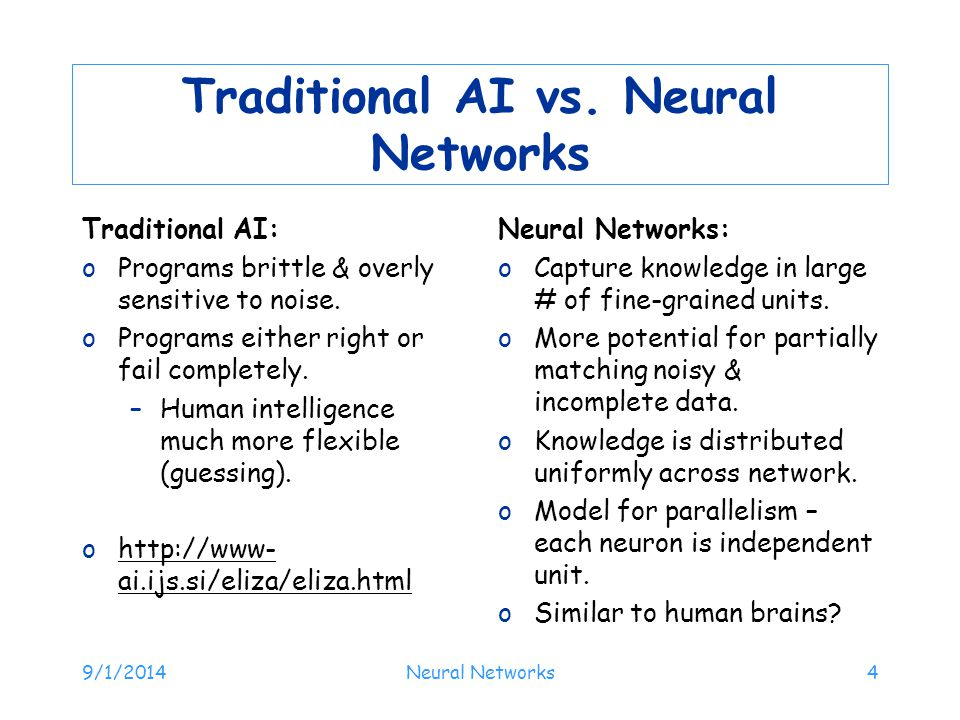 Traditional AI vs. Neural Networks