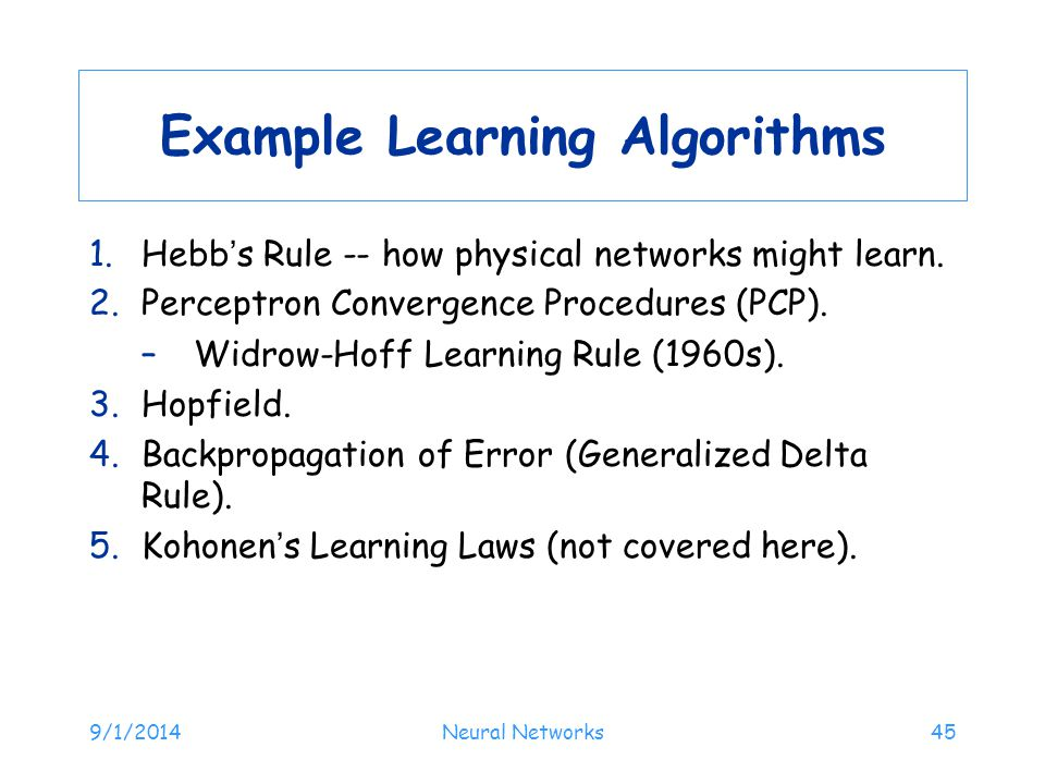 Example Learning Algorithms