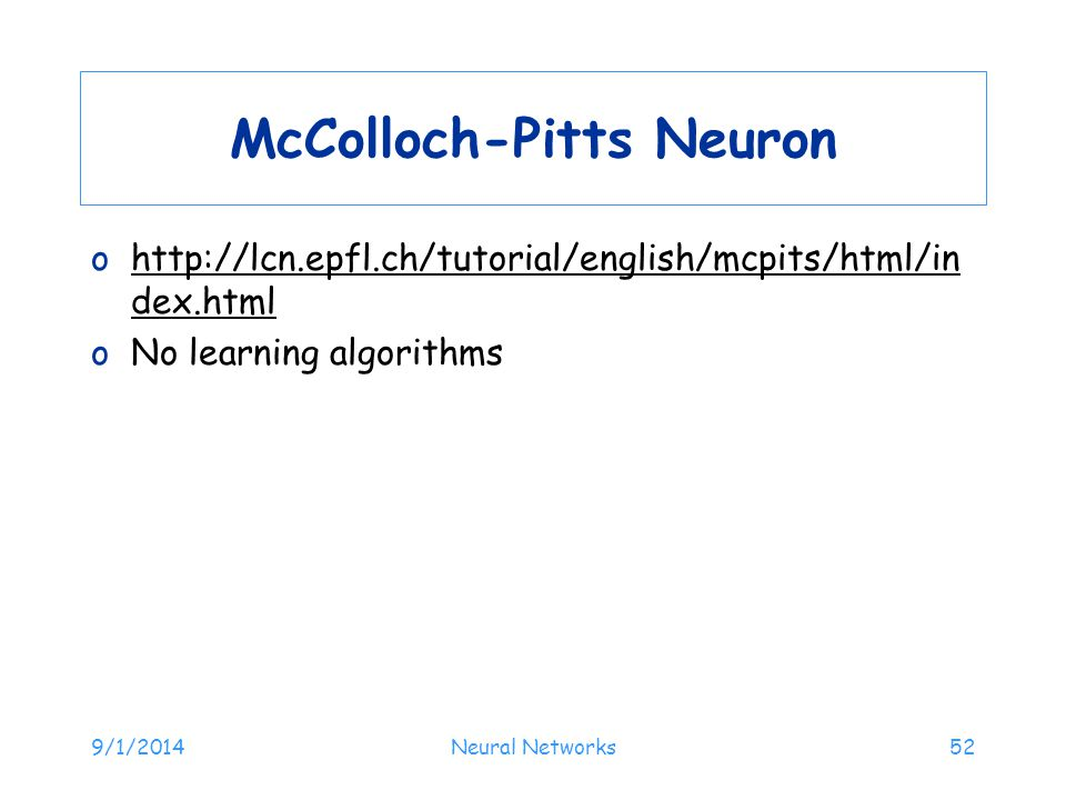 McColloch-Pitts Neuron