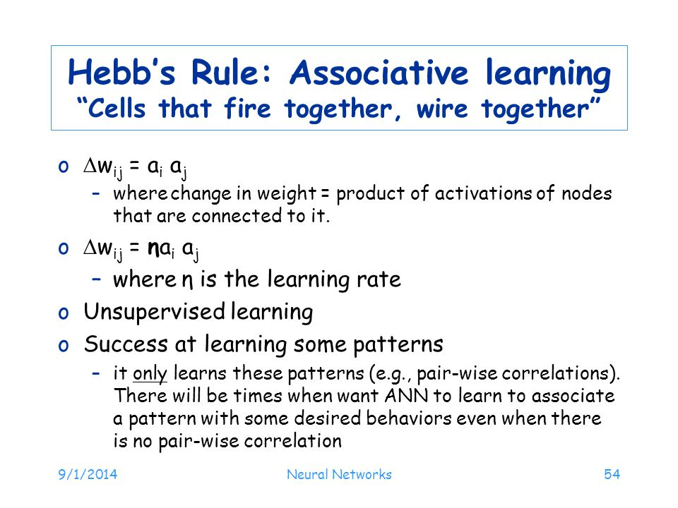 Hebb's Rule: Associative learning Cells that fire together, wire together