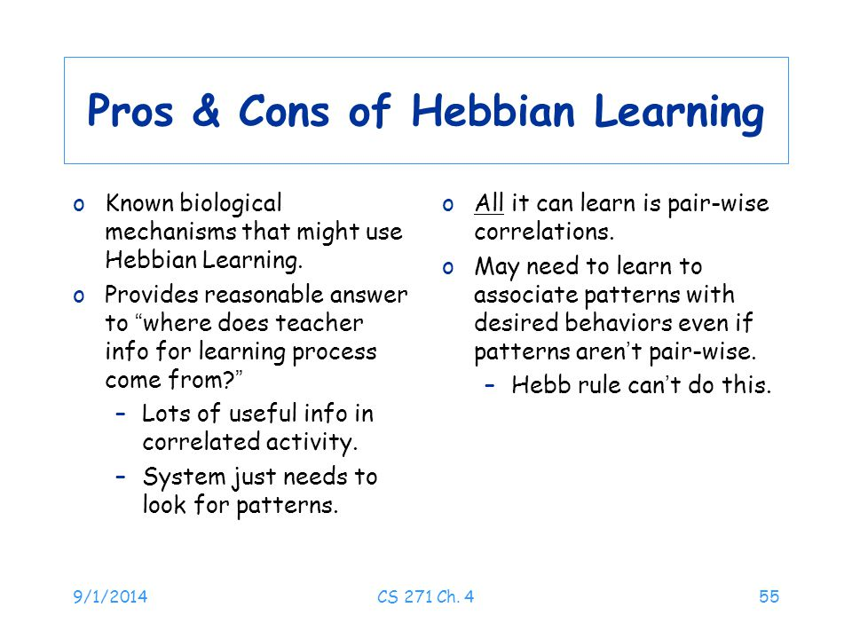Pros & Cons of Hebbian Learning