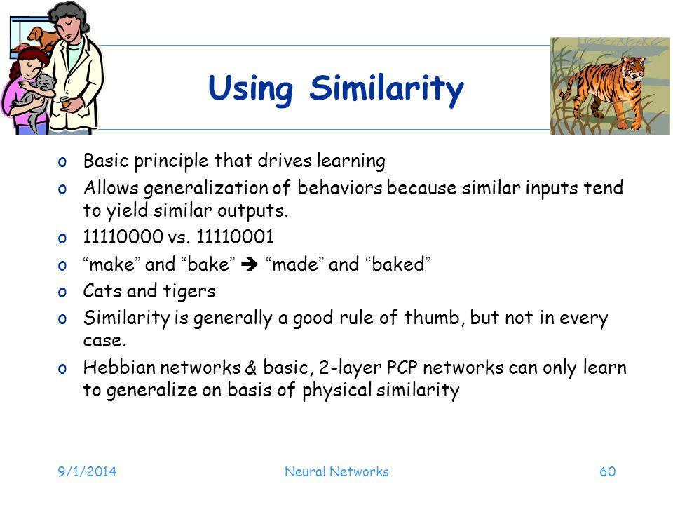 Using Similarity Basic principle that drives learning