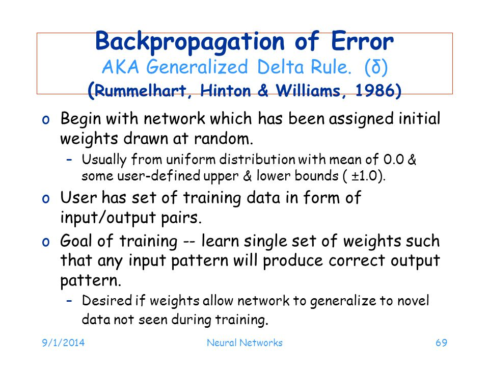 Backpropagation of Error (Rummelhart, Hinton & Williams, 1986)