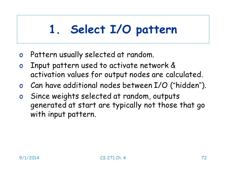 1. Select I/O pattern Pattern usually selected at random.