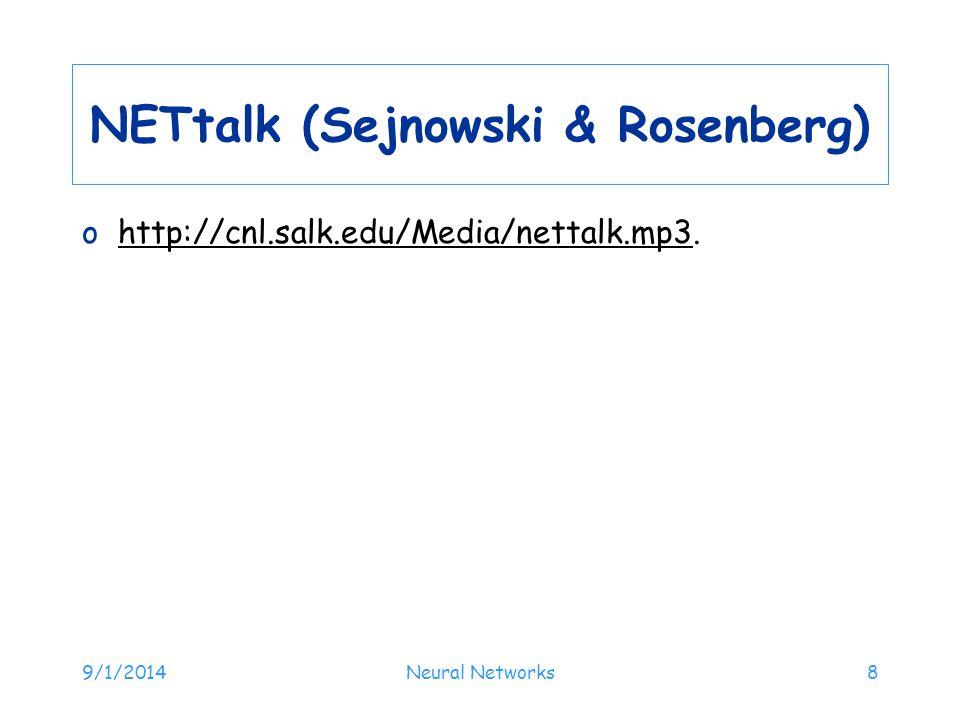 NETtalk (Sejnowski & Rosenberg)