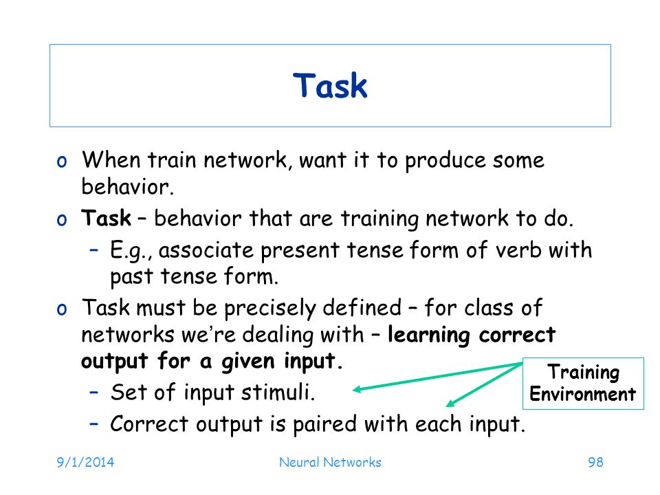 Task When train network, want it to produce some behavior.