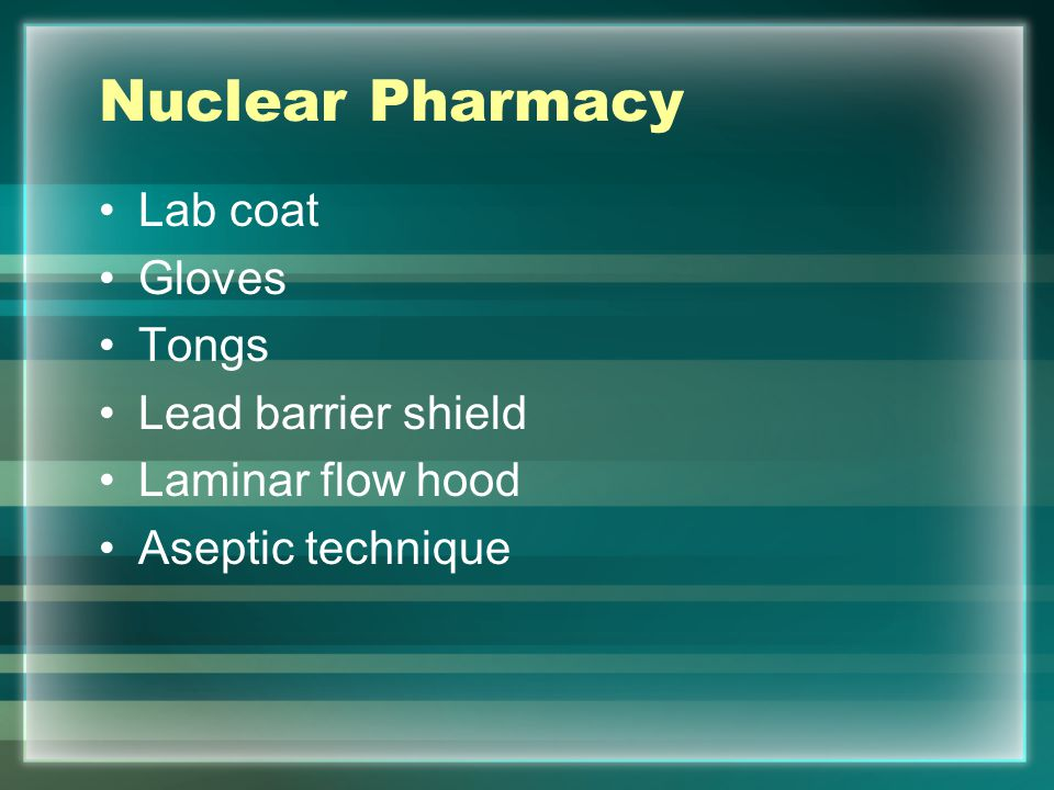 Nuclear Pharmacy Lab coat Gloves Tongs Lead barrier shield