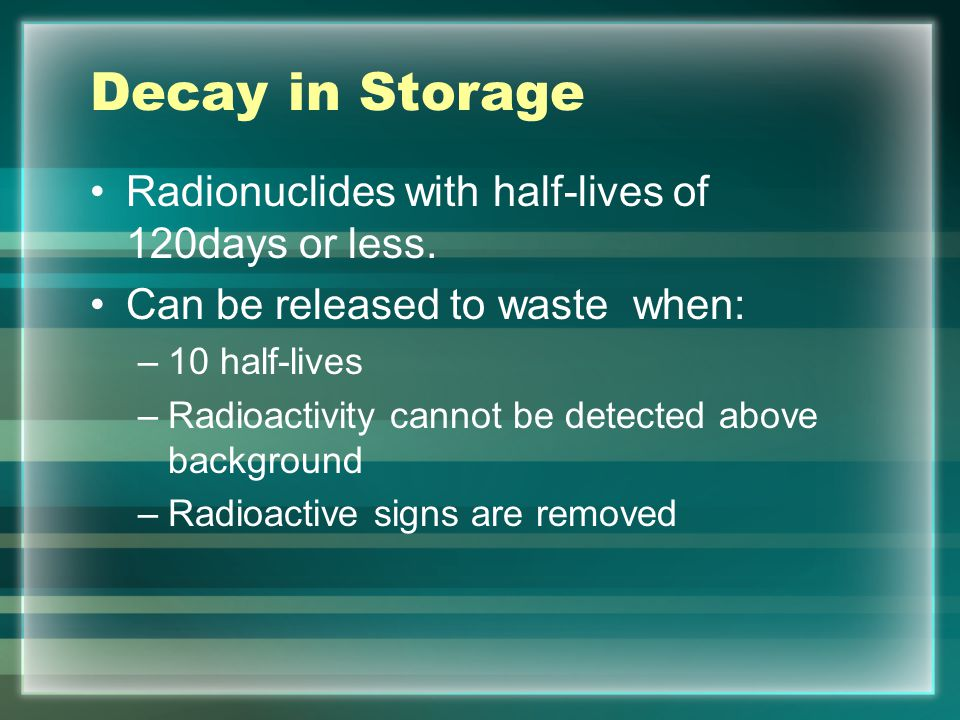 Decay in Storage Radionuclides with half-lives of 120days or less.
