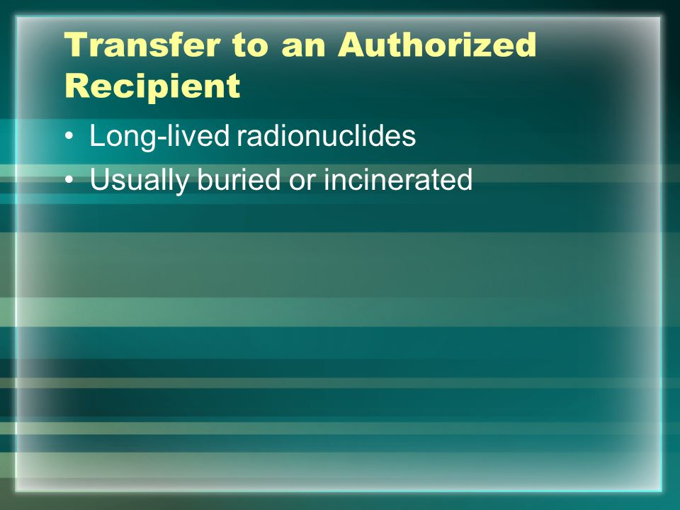 Transfer to an Authorized Recipient