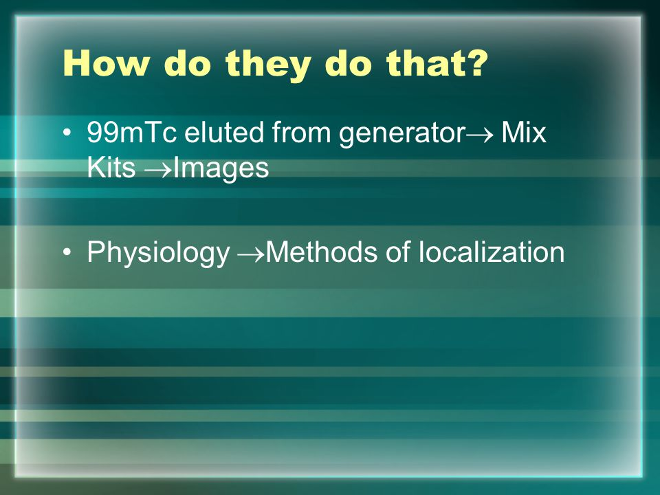 How do they do that 99mTc eluted from generator Mix Kits Images