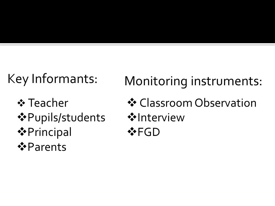Monitoring instruments: