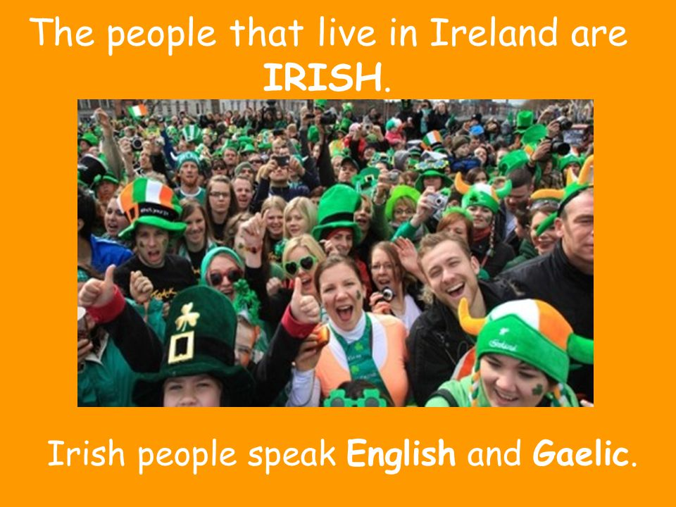 The people that live in Ireland are IRISH.