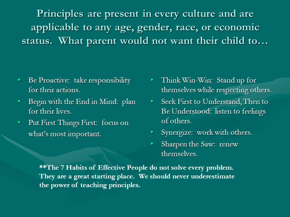 Principles are present in every culture and are applicable to any age, gender, race, or economic status. What parent would not want their child to…