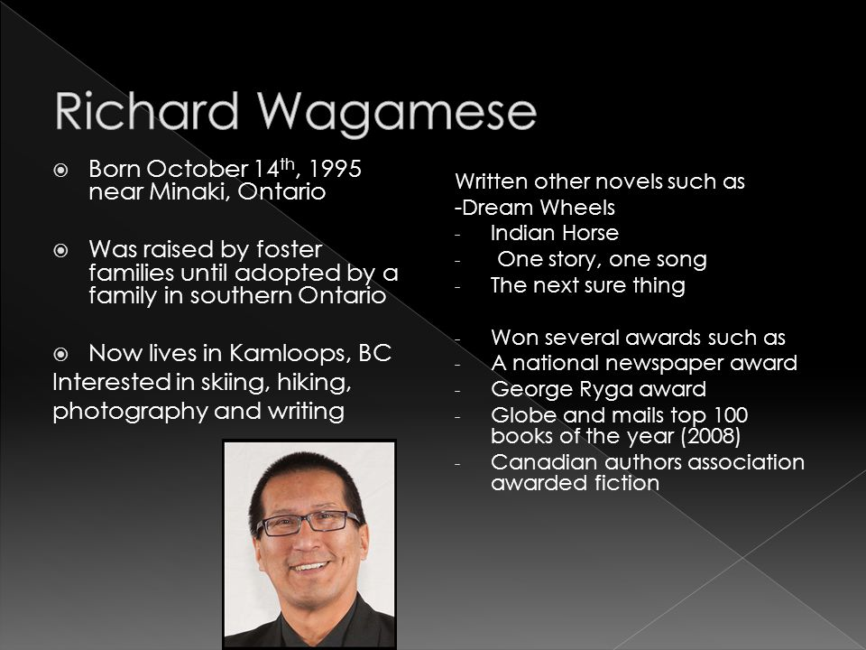 Richard Wagamese Born October 14th, 1995 near Minaki, Ontario