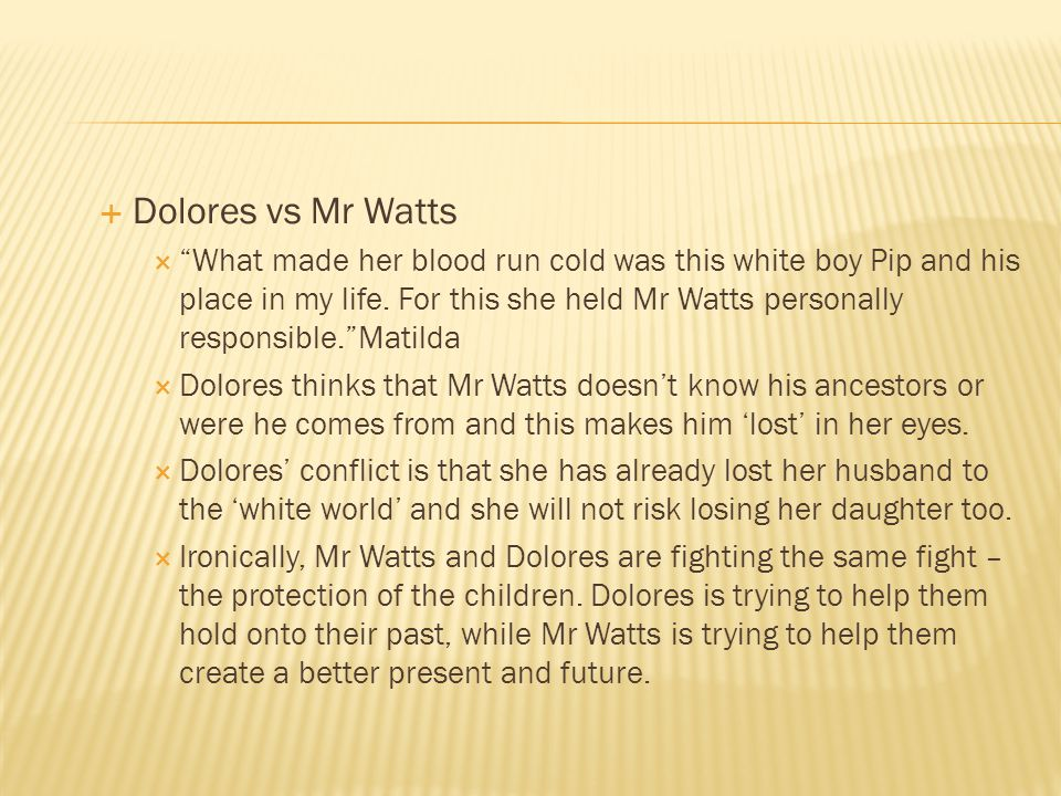 Dolores vs Mr Watts