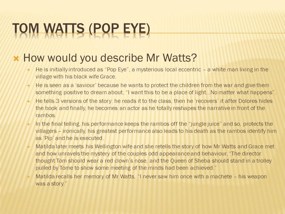 Tom Watts (Pop Eye) How would you describe Mr Watts