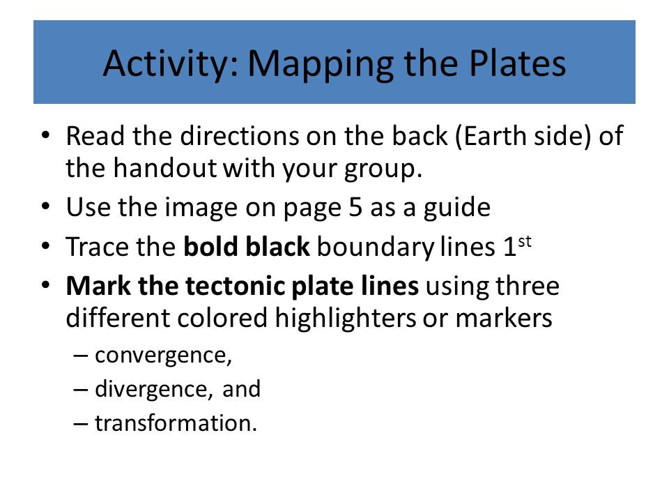 Activity: Mapping the Plates