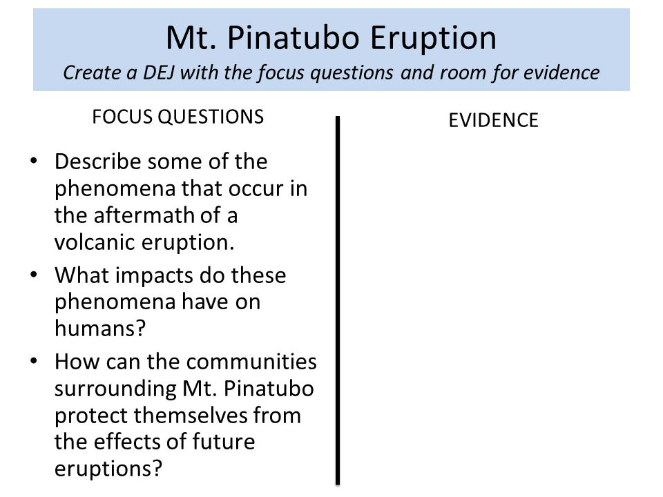 Mt. Pinatubo Eruption Create a DEJ with the focus questions and room for evidence