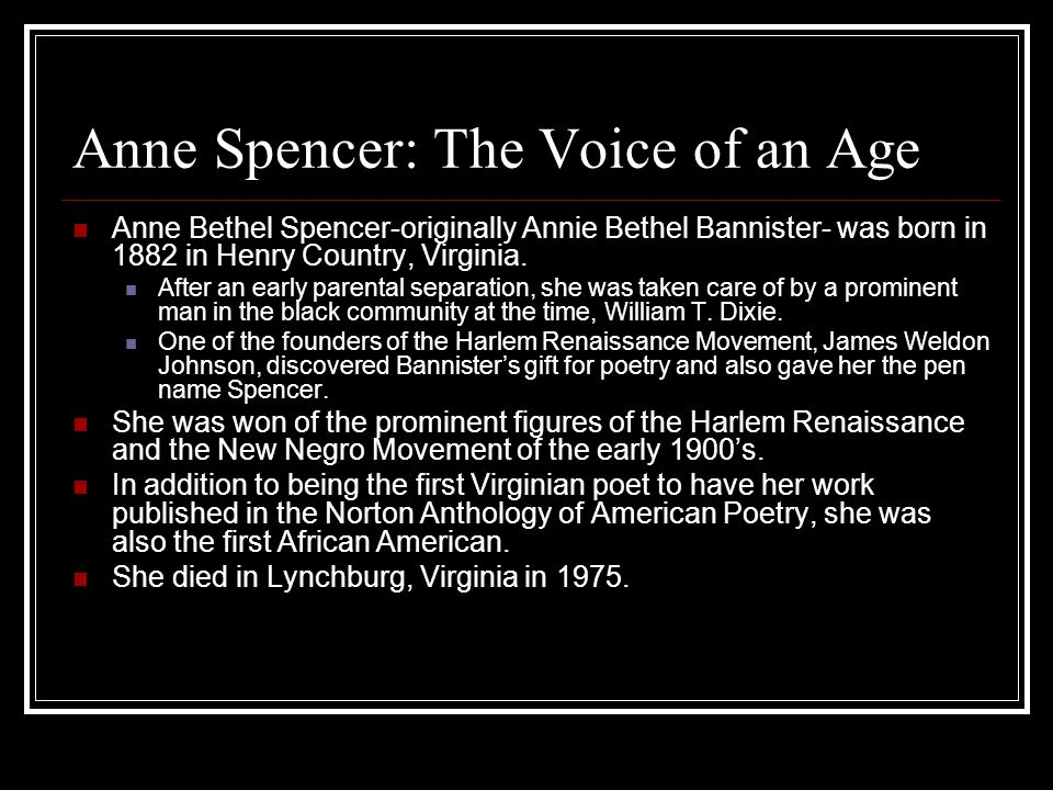 Anne Spencer: The Voice of an Age