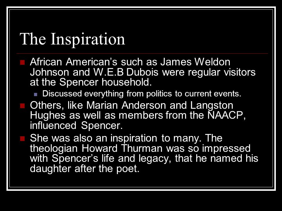 The Inspiration African American's such as James Weldon Johnson and W.E.B Dubois were regular visitors at the Spencer household.