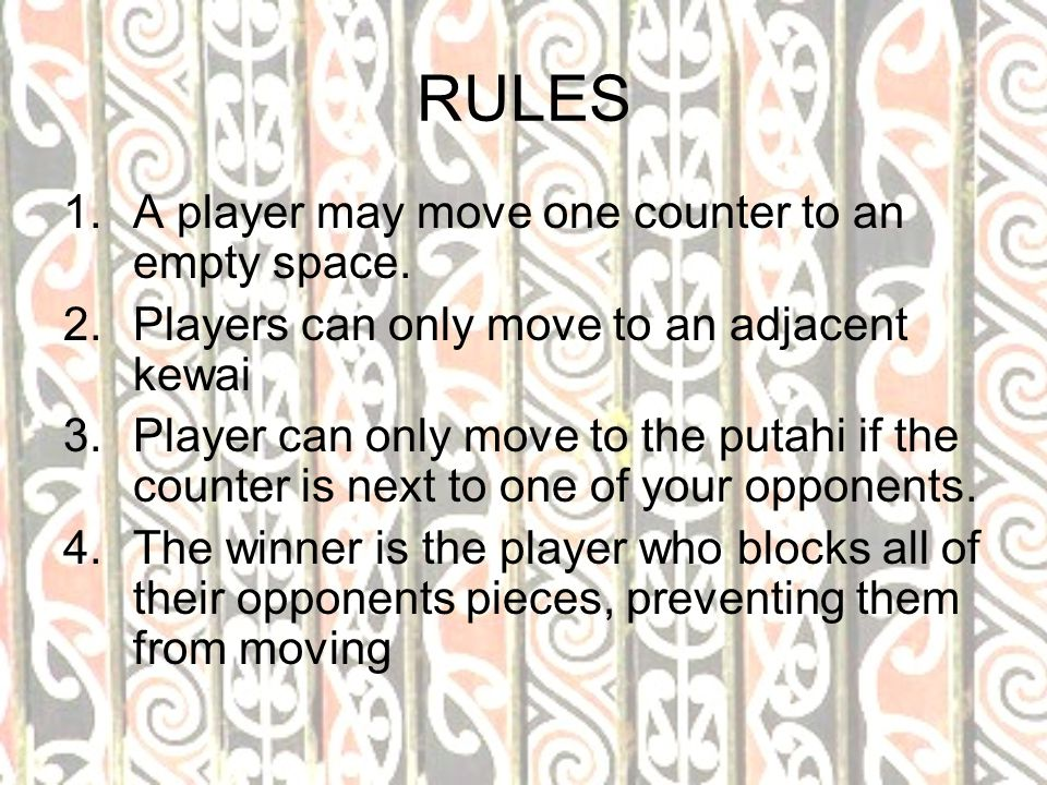 RULES A player may move one counter to an empty space.