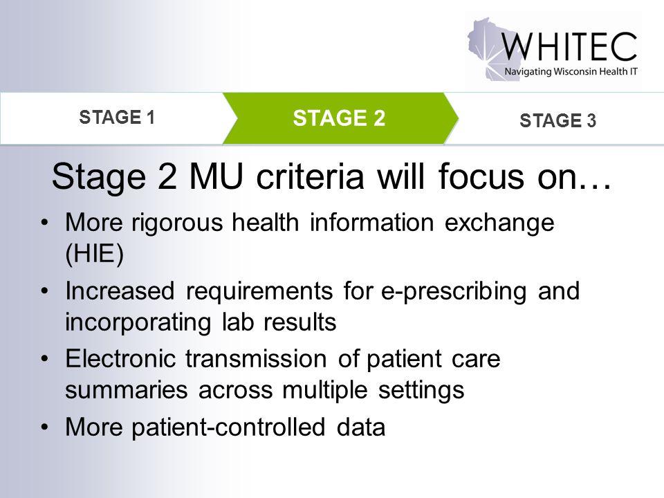 Stage 2 MU criteria will focus on…
