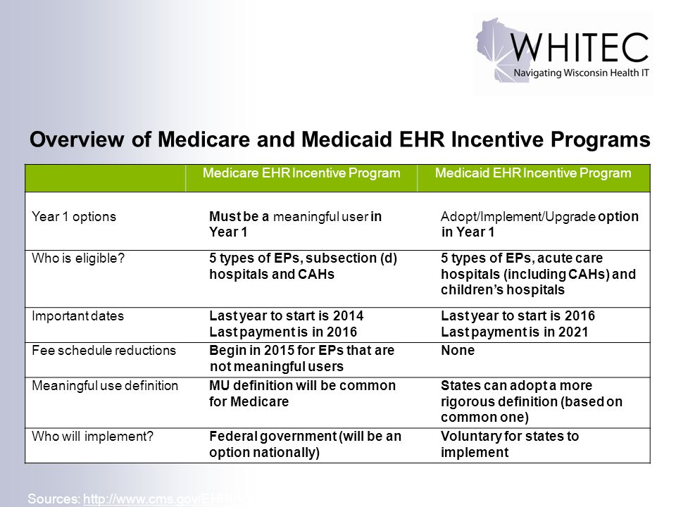 Overview of Medicare and Medicaid EHR Incentive Programs