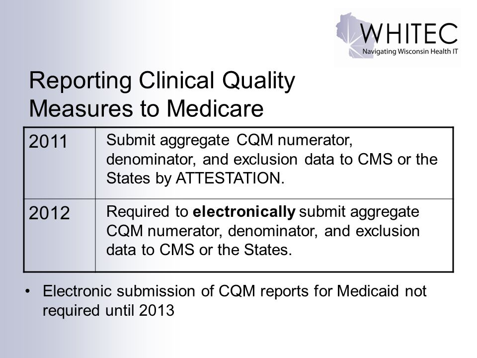 Reporting Clinical Quality Measures to Medicare