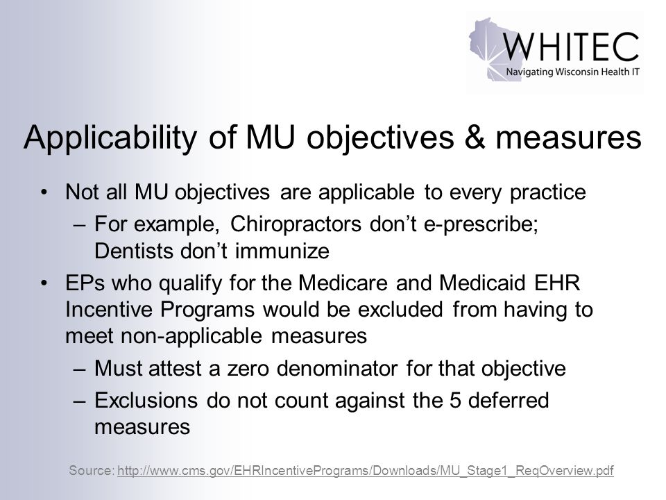 Applicability of MU objectives & measures
