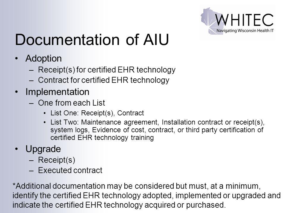 Documentation of AIU Adoption Implementation Upgrade