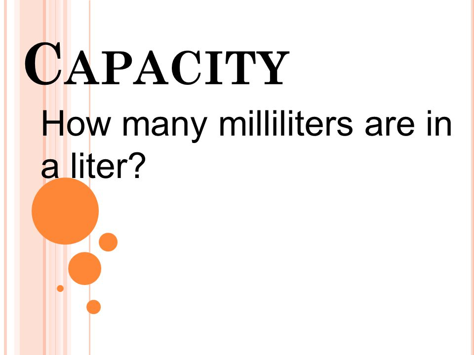 Capacity How many milliliters are in a liter