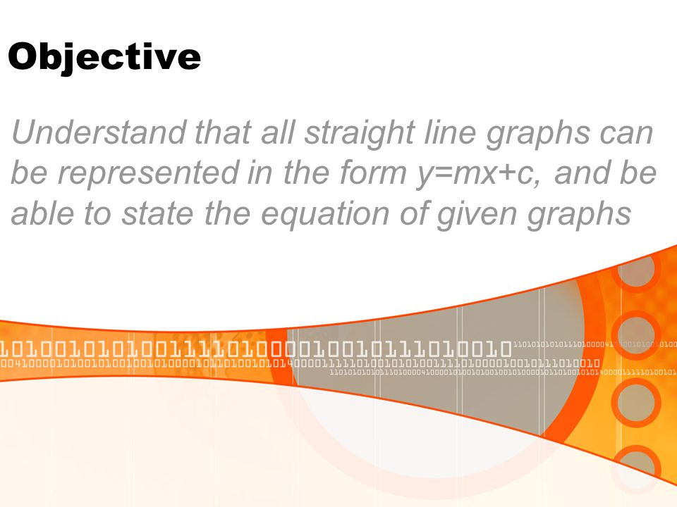 Objective Understand that all straight line graphs can be represented in the form y=mx+c, and be able to state the equation of given graphs.
