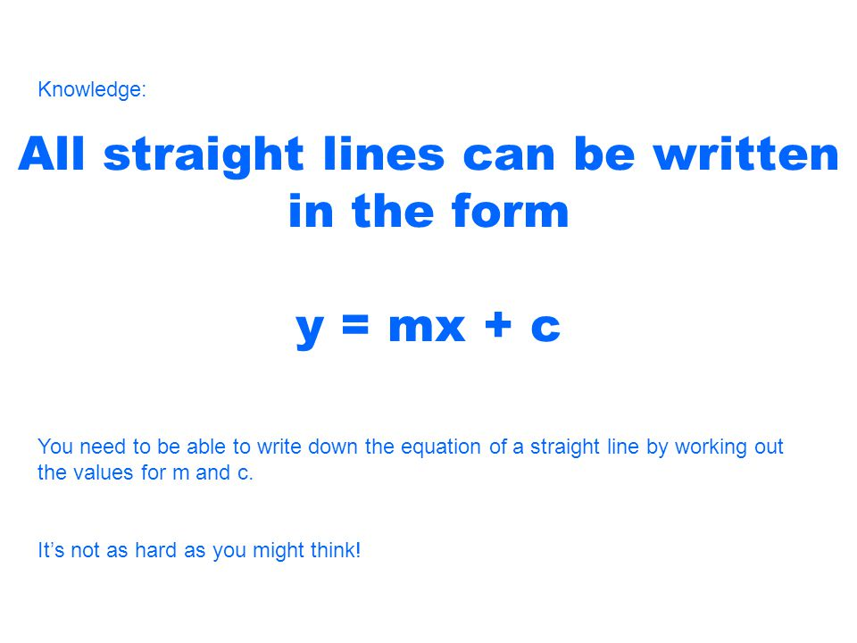 All straight lines can be written in the form y = mx + c