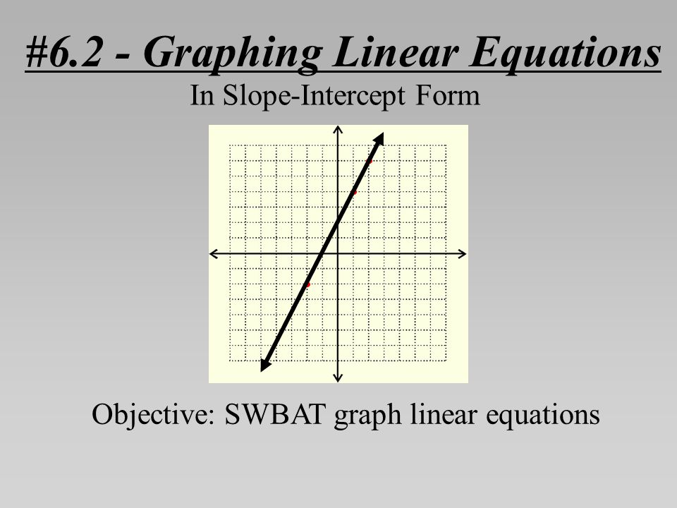 #6.2 - Graphing Linear Equations