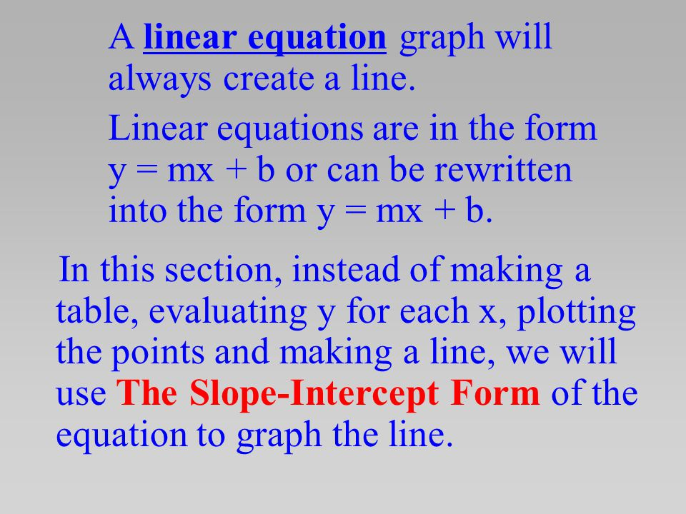 A linear equation graph will always create a line.