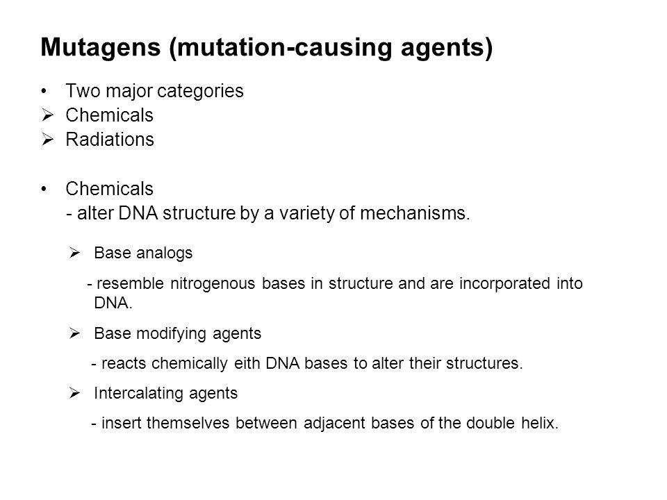 Mutagens (mutation-causing agents)