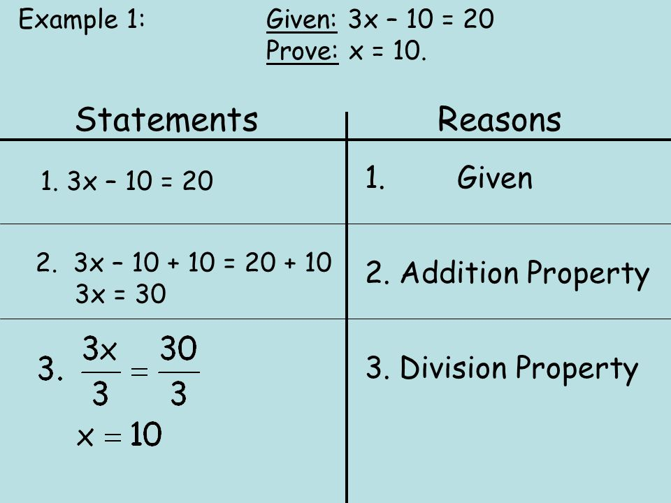 Statements Reasons 1. Given 2. Addition Property 3. Division Property