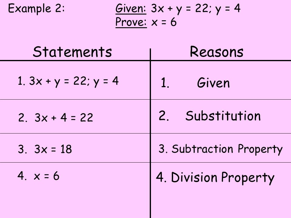 Statements Reasons 1. Given 2. Substitution 4. Division Property