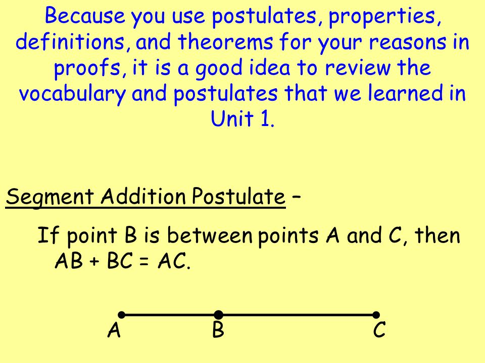 Because you use postulates, properties, definitions, and theorems for your reasons in proofs, it is a good idea to review the vocabulary and postulates that we learned in Unit 1.