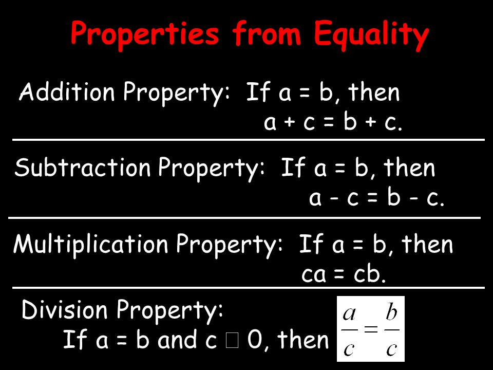 Properties from Equality